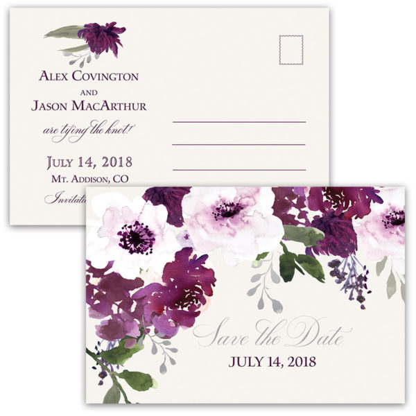 Burgundy Plum Floral Watercolor Save the Dates