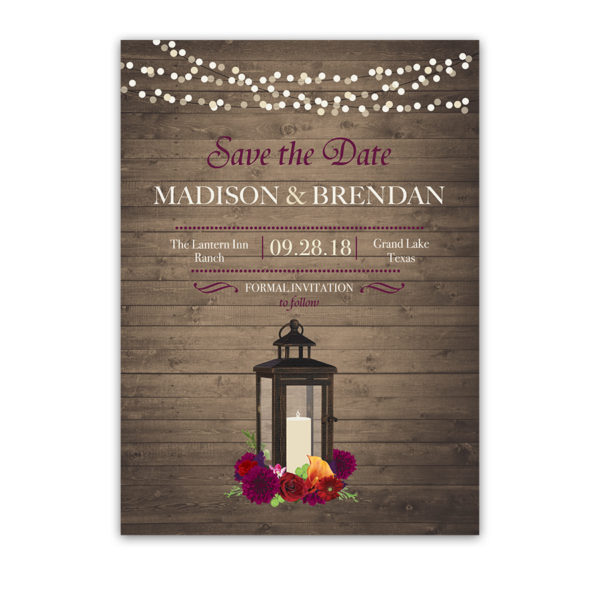 Save the Date Cards Lantern Wedding Fall Plum Florals