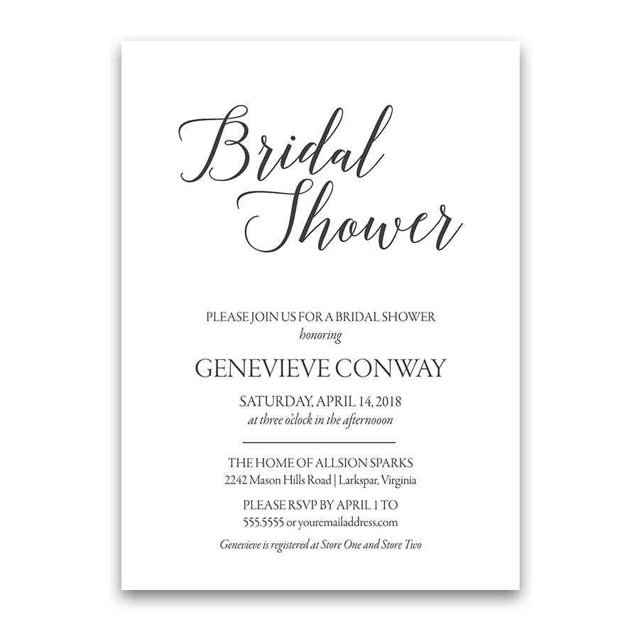 Modern Handwritten Script Bridal Shower Invitations