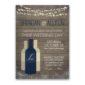 Vineyard Wine Bottle Wedding Invitations Color Options