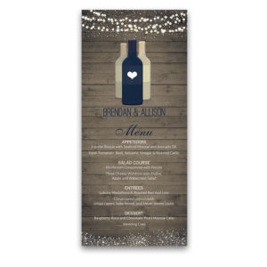Rustic Wood Vineyard Wine Bottle Wedding Menu