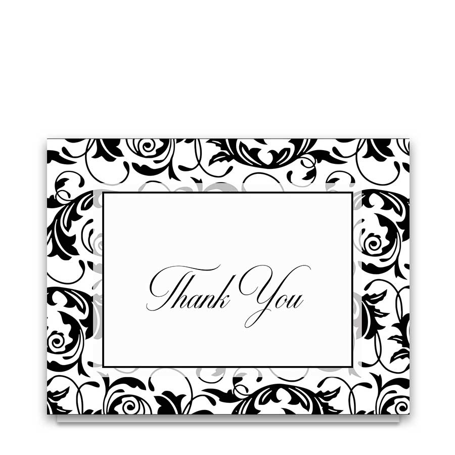 Black and White Damask Wedding Thank You Cards
