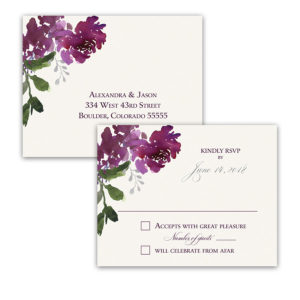 Painted Floral Wedding RSVP Postcard Purple Burgundy