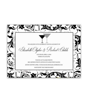 Engagement Party Invitations Damask Black And White