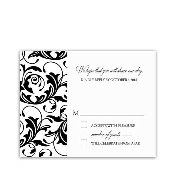 Damask Floral Wedding Black White RSVP Response Cards