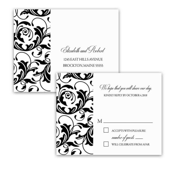 Damask Floral Wedding Black White RSVP Postcards
