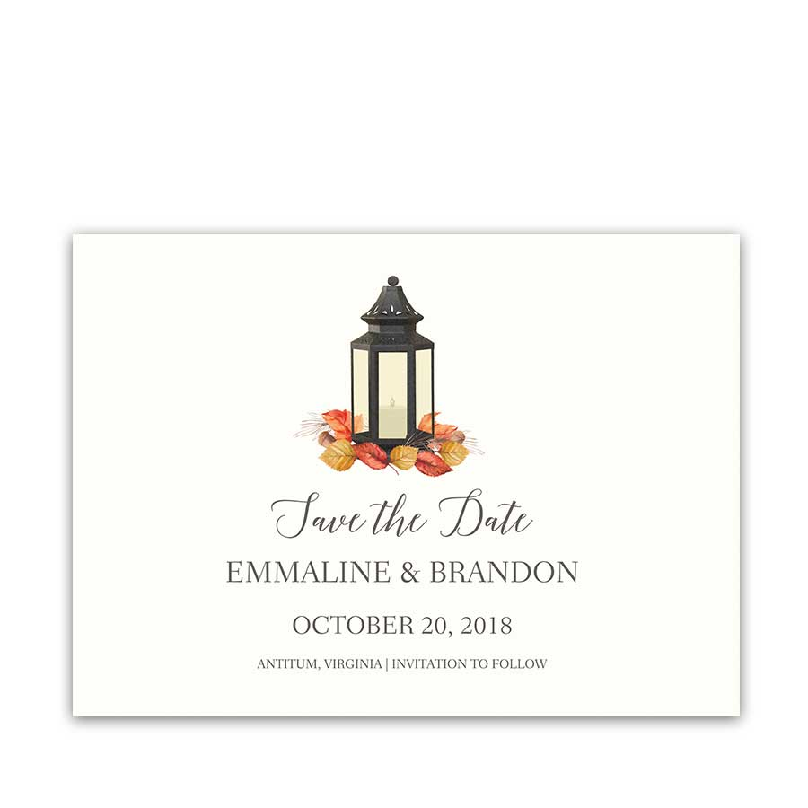 Wedding Save the Date Cards Lantern Wedding Fall Leaves
