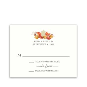 Fall Wedding RSVP Cards Orange and Gold Fall Leaves