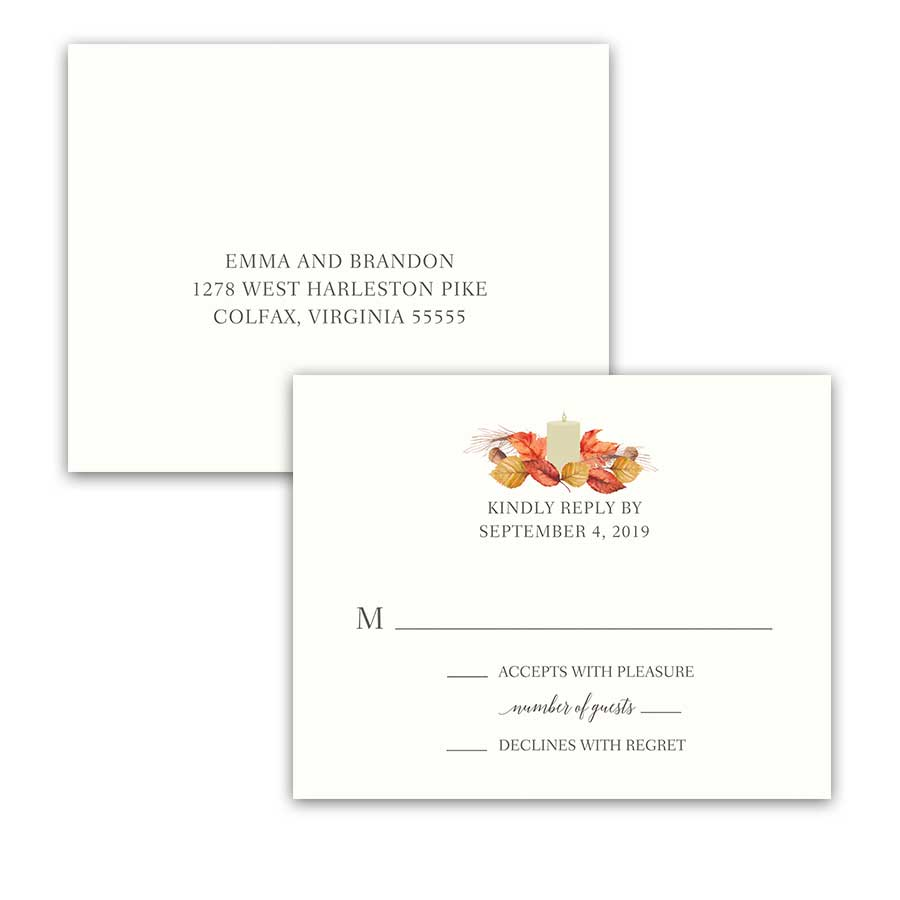 Fall Wedding RSVP Postcards Orange Gold Leaves