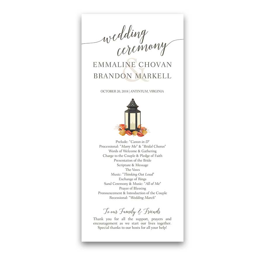 Rustic Fall Wedding Program Metal Lantern Leaves