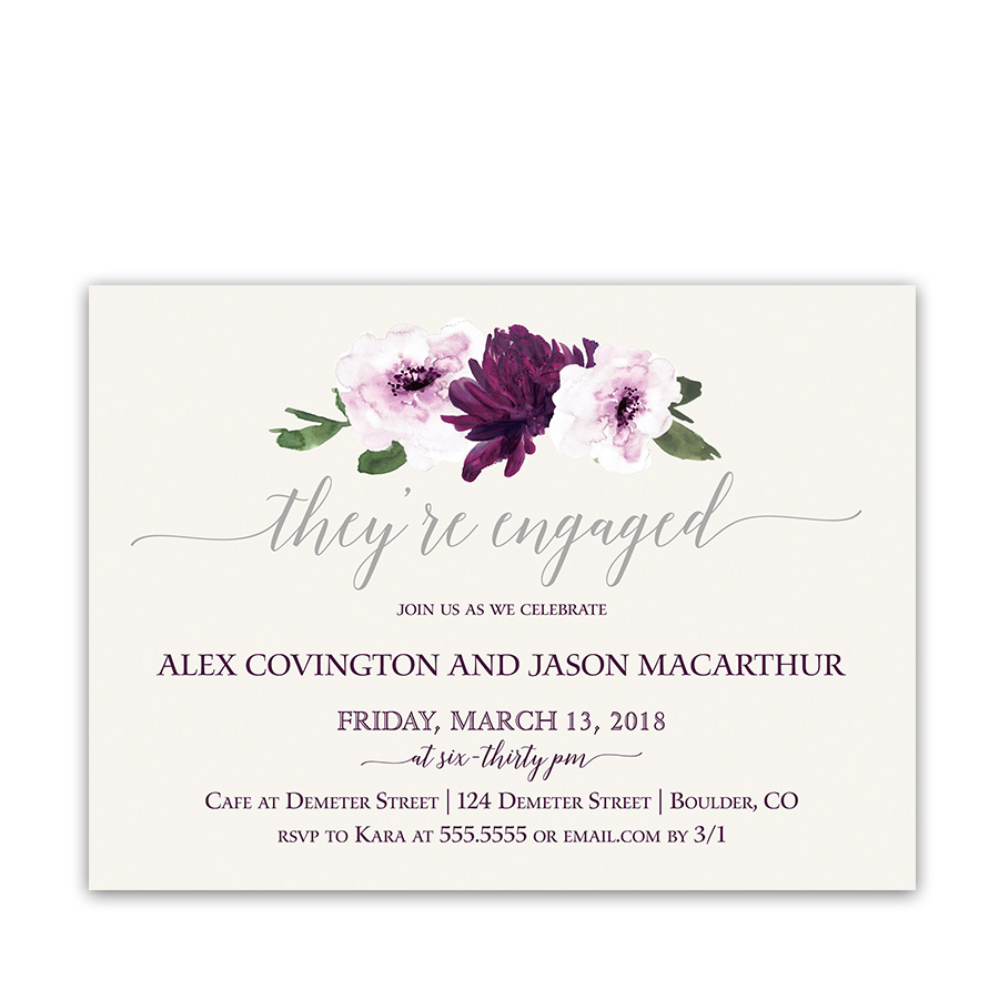 Floral Watercolor Purple Engagement Party Invitations