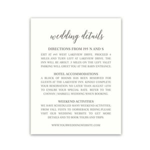 Wedding Insert Cards for Additional Guest Information