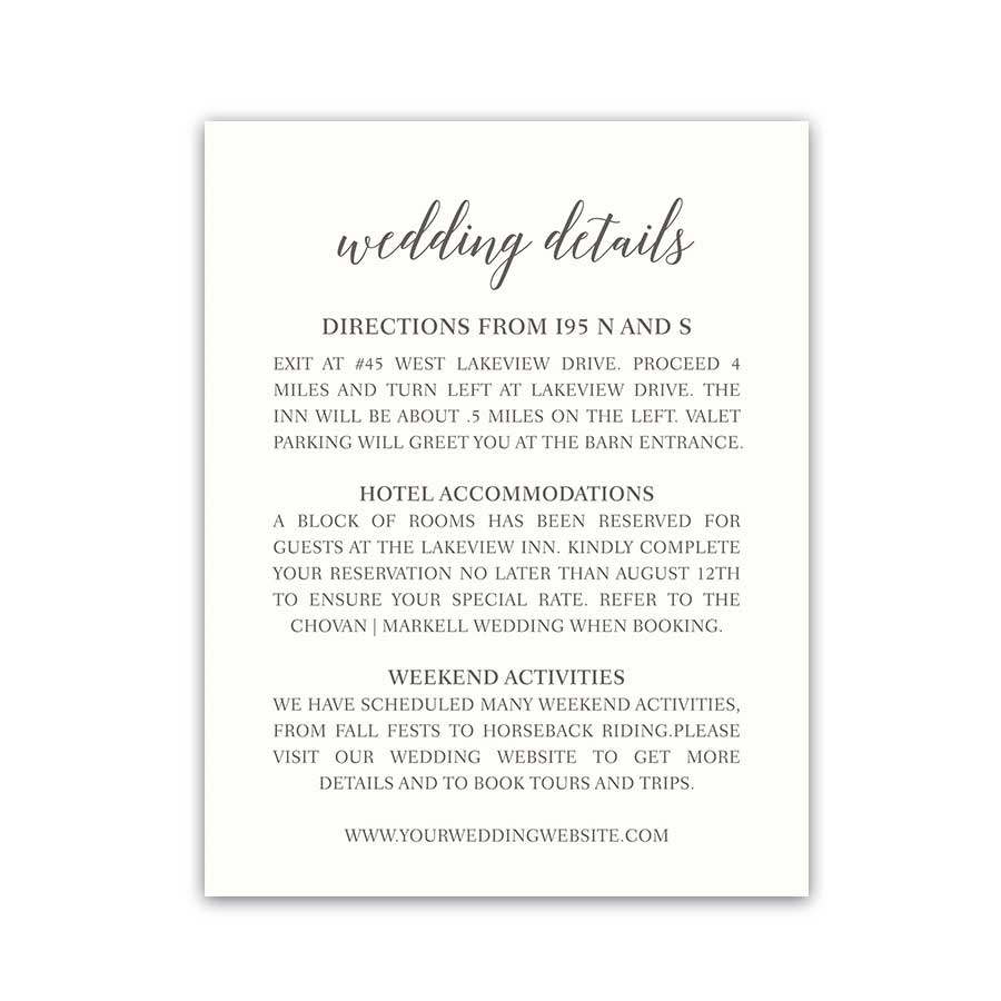 Wedding Insert Cards Additional Guest Information