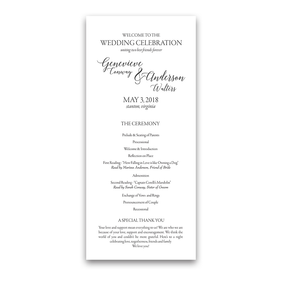 Handwritten Script Wedding Program Order of Service
