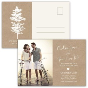 Photo Save the Date Postcards Kraft Paper Tree Silhouette