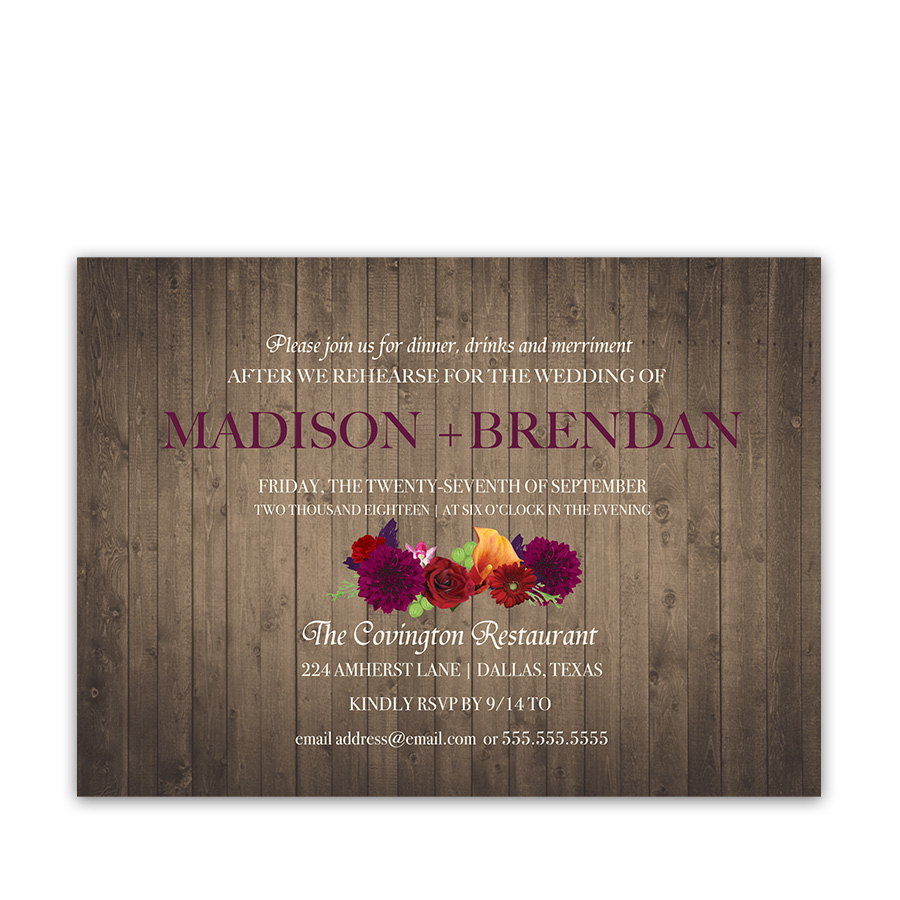 Plum Floral Rustic Wedding Rehearsal Invitations