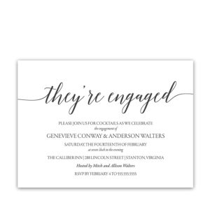 Handwritten Script Modern Engagement Party Invitations