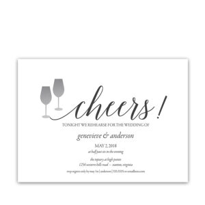 Cheers Script Wedding Rehearsal Dinner Invitations