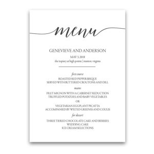 Script Handwriting Custom Wedding Menu Design