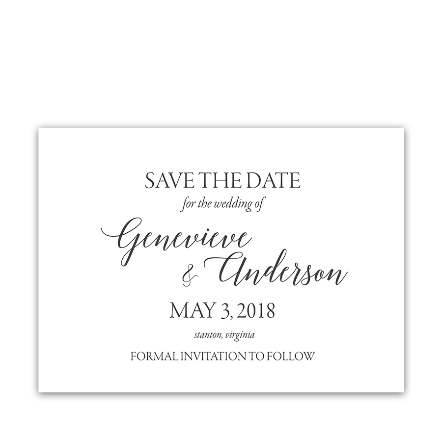 Modern Script Calligraphy Wedding Save the Date Card