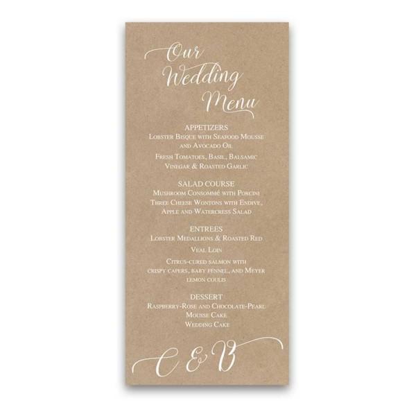 Kraft Wedding Menu Script Handwriting Modern Design