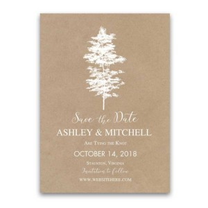 Wedding Save the Date Cards Kraft Paper Tree Theme