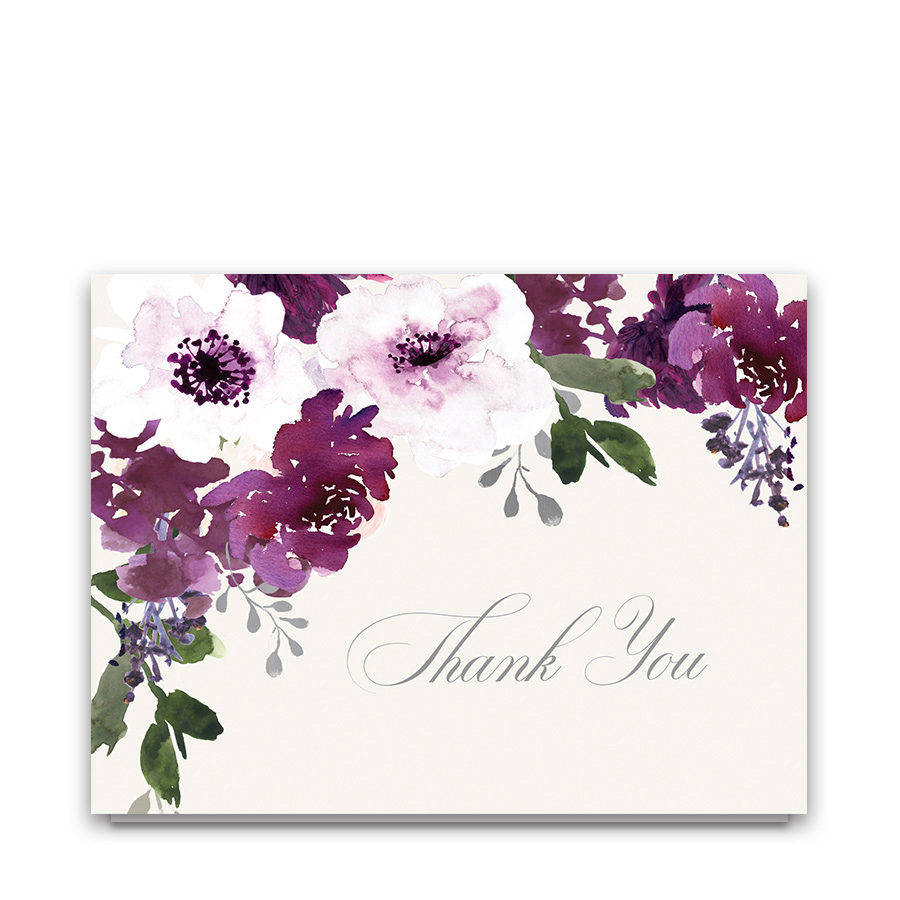 Plum Burgundy Wine Floral Wedding Thank You Cards