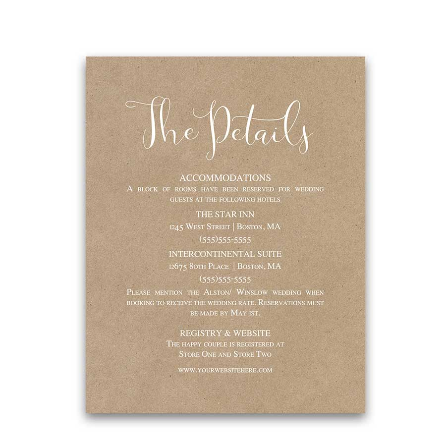 Kraft Paper Wedding Script Guest Information Cards