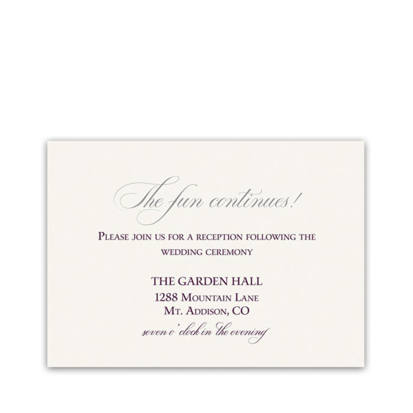 Burgundy Script Wedding Reception Details Card
