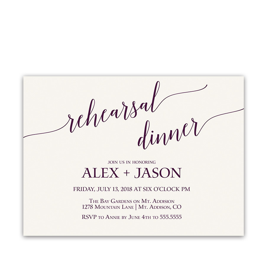 Purple Script Handwriting Wedding Rehearsal Invitations