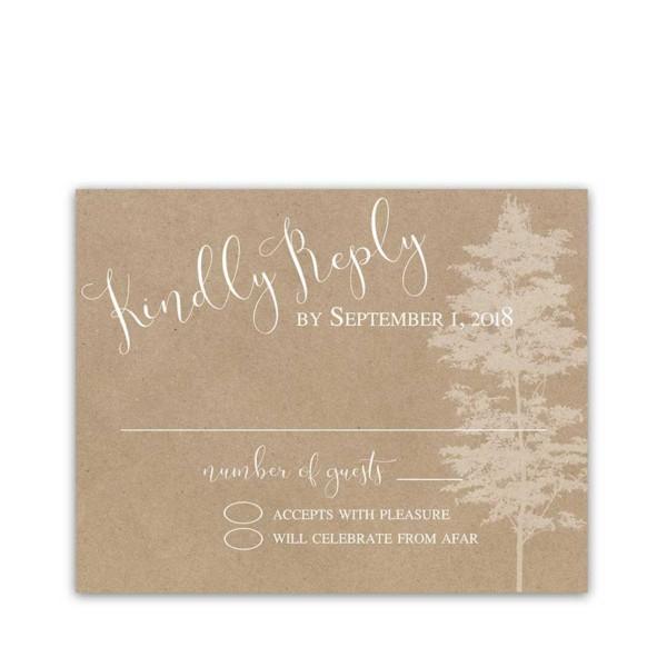 Wedding RSVP Cards Kraft Paper Tree Silhouette