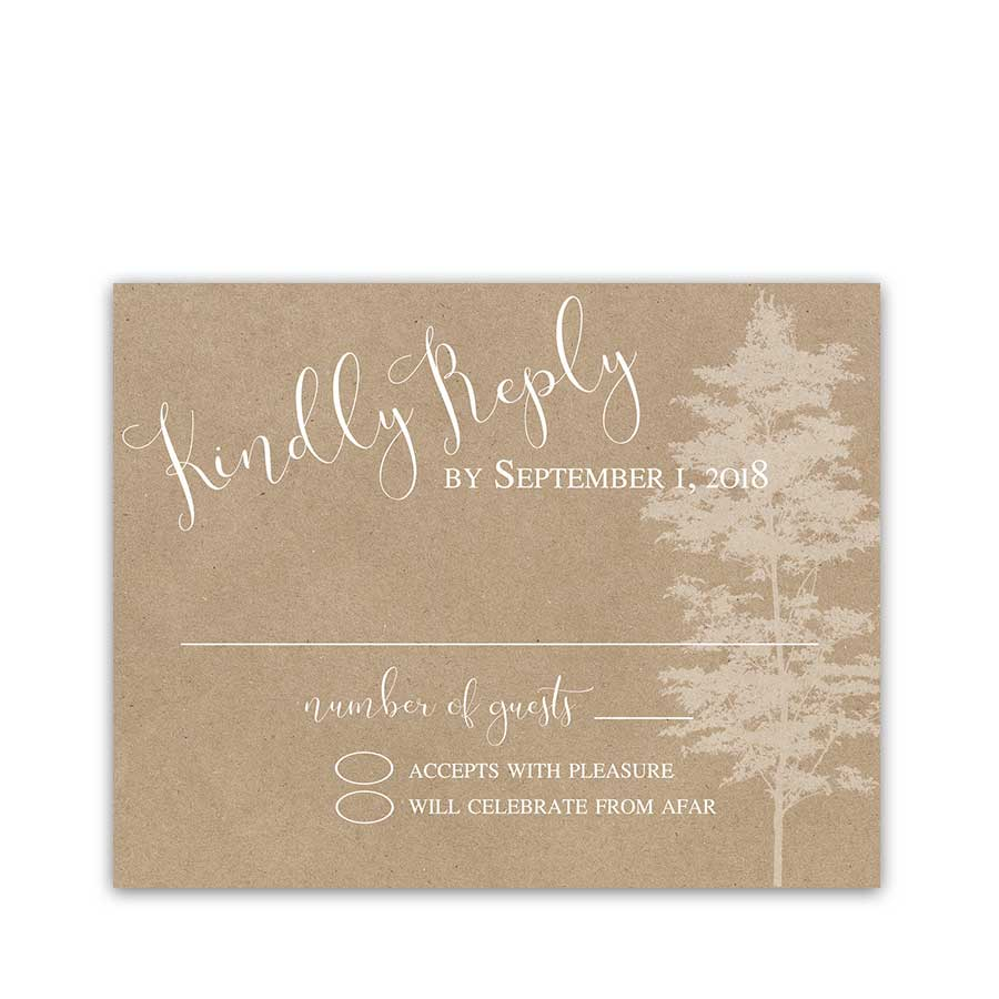Wedding RSVP Cards Kraft Paper Tree Silhouette