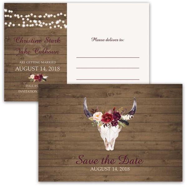 Save the Date Cards Floral Deer Skull Antlers Burgundy