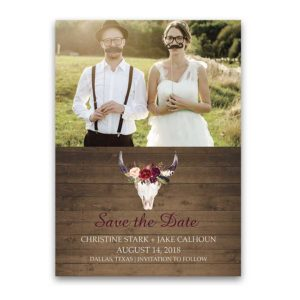 Photo Save the Date Cards Floral Deer Skull Antlers