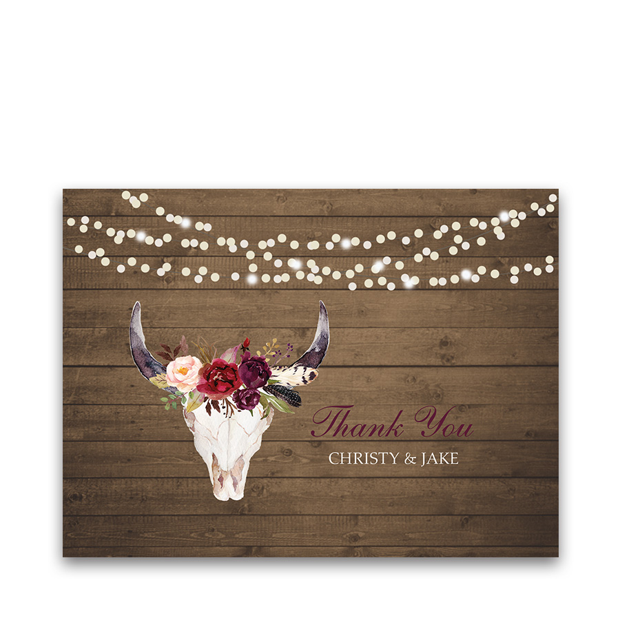 Floral Antlers Wedding Thank You Cards Burgundy Wine