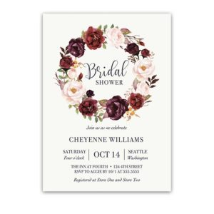 Floral Wreath Bridal Shower Invitations Blush Wine