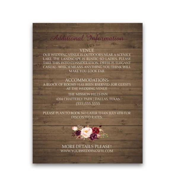 Wedding Information Cards Boho Watercolor Florals