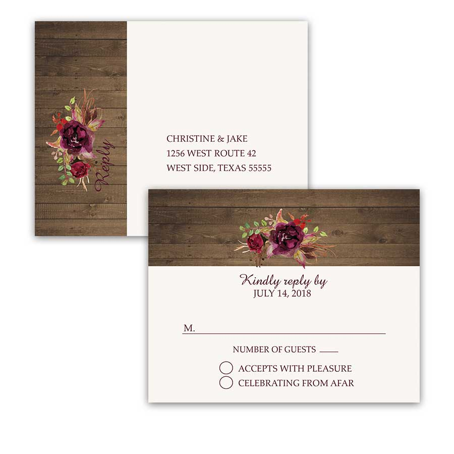 Wedding RSVP Postcards Floral Watercolor Boho Chic