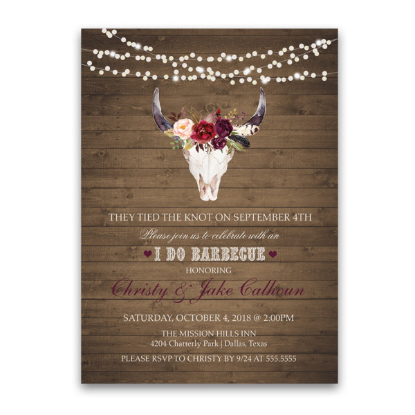 I DO BBQ Wedding Reception Only Floral Deer Skull