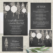 Paper Lantern Wedding Invitations on Chalkboard