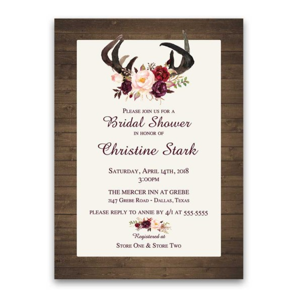 Floral Bridal Shower Invitations Deer Antlers