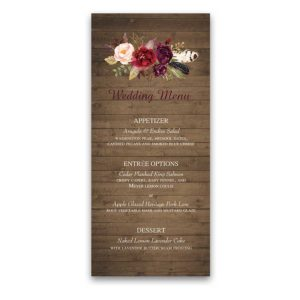 Floral Wedding Menu Blush Burgundy Wine on Wood