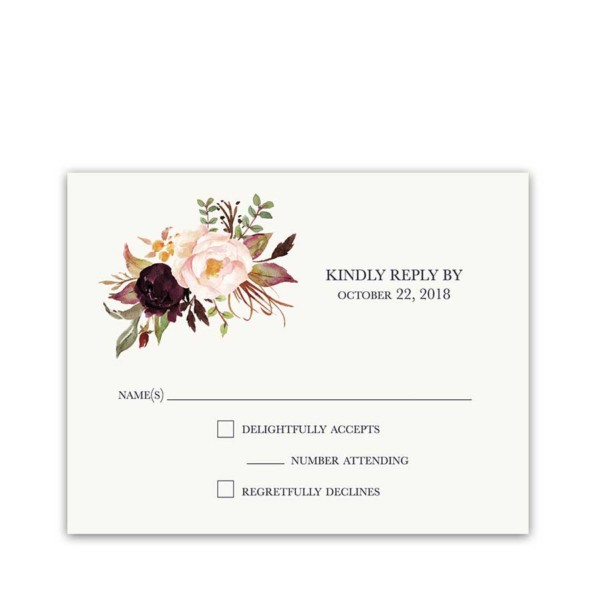 Floral Wedding RSVP Cards Watercolor Wine Burgundy