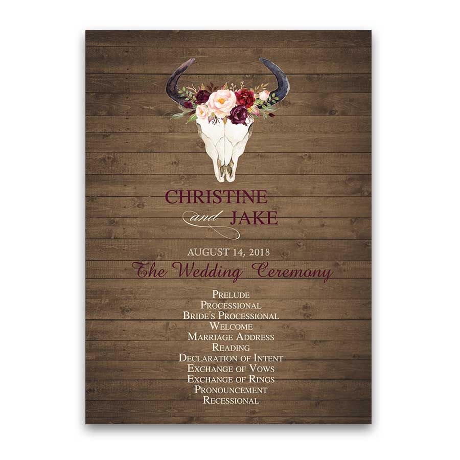 Floral Wedding Program Watercolor Deer Skull Antlers