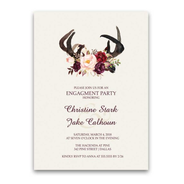 Floral Engagement Party Invitations Deer Skull Antlers