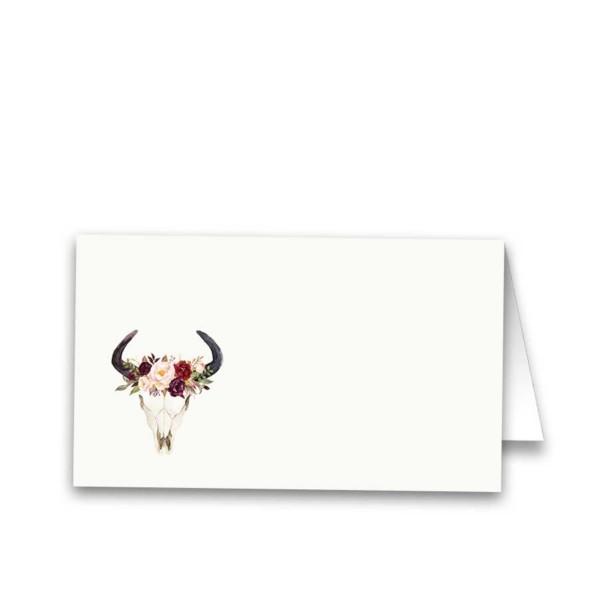 Floral Wedding Escort Seating Cards Deer Skull Antlers