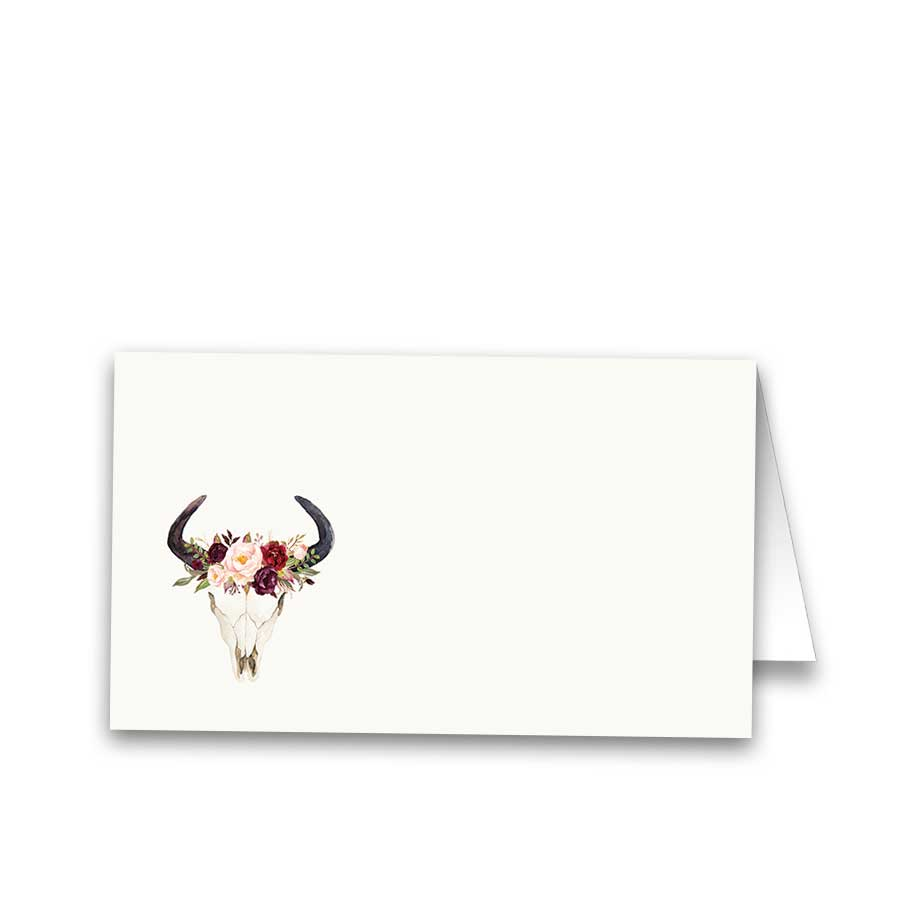 Floral Wedding Escort Seating Cards Deer Skull Antlers