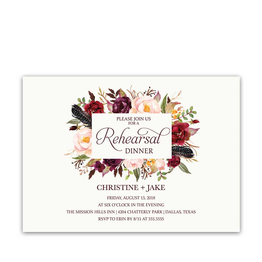 Floral Watercolor Wedding Rehearsal Dinner Invitation
