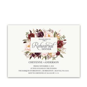 Floral Wedding Rehearsal Dinner Invitations Burgundy Wine