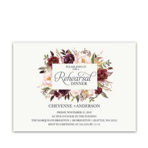 Floral Wedding Rehearsal Dinner Invitations Burgundy Wine